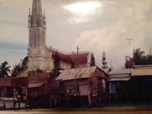 An ancient (not very) French Cathedral in a small village on the Mekong